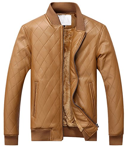chouyatou Men's Casual Diamond-Quilted Sherpa Lined Pu Leather Bomber Jacket (XX-Large, Brown)