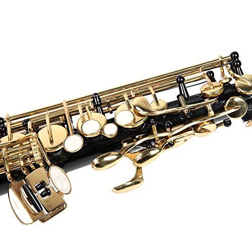 Shanrya Set di Sassofono Contralto in Mi bemolle, Bocca a Campana Set di Sassofono in Mi Piatto Contralto, per Musicisti Principianti(Nero)