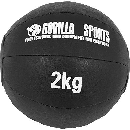 GORILLA SPORTS® Medizinball - 1kg, 2kg, 3kg, 4kg, 5kg, 6kg, 7kg, 8kg, 9kg, 10kg Gewichte, Einzeln/Set, 29cm, aus Leder, Schwarz - Trainingsball, Fitnessball, Gewichtsball, Slam Ball