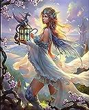 Kit de pintura por número Fairy Flying Dragon - Pintura al óleo de bricolaje para adultos Pinturas al óleo hechas a mano para adultos y niñosRegalos creativos - 40x50cm (Sin marco)