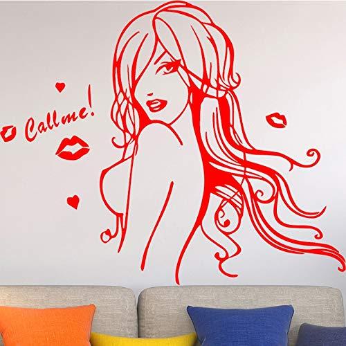 sxh28185171 Hermosa Chica Vinilo Pared calcomanía Belleza Llama Labios Rojos salón Interior decoración del hogarXL 58cm X 63cm