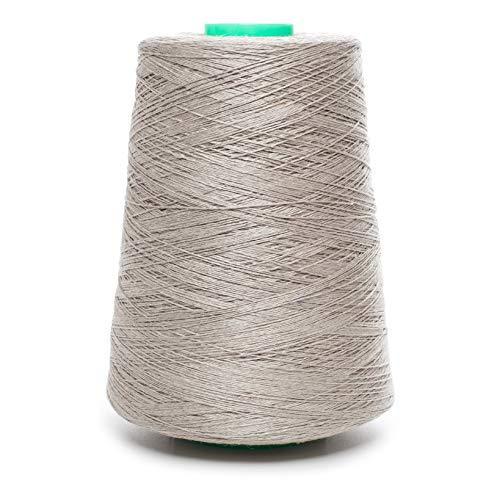 Lusie's リネン糸コーン - 100%亜麻リネン - 1ポンド - ナチュラルグレー糸 - 1層、2層、3層、4層 - 裁縫かぎ針編み刺繍(2層糸)