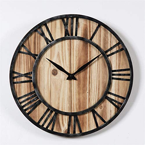 Reloj de Pared Retro 40cm Minimali Europeo Hierro Forjado Madera Maciza Silencio Números Romanos Sala de Estar Decorativos Tapices Mesa de Reloj