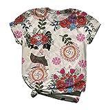 Routinfly Y2K - Camisetas de manga corta para mujer, para verano, estilo informal, con cuello redondo, Mujer, Blanco, medium