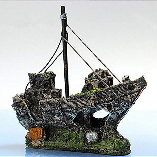 WAZA Decoración de Barco Pirata para Acuario Ornamento de Acuario Tanque de Pez para Peces Camarón Tortuga 14.5 x 5.5 x 12 cm