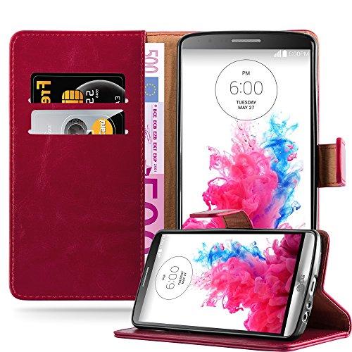 Cadorabo Hülle für LG G3 in Wein ROT – Handyhülle mit Magnetverschluss, Standfunktion & Kartenfach – Hülle Cover Schutzhülle Etui Tasche Book Klapp Style