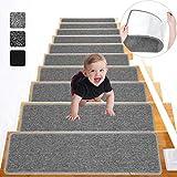 Lemecima 76cm X 21 cm(Paquete de 15) Alfombrillas para Escaleras, Alfombras de Escalera Antideslizante Autoadhesivas para Interiores, para Niños, Ancianos y Mascotas, Gris Claro