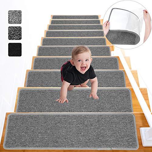 Lemecima Alfombrillas para Escaleras 76cm X 21cm, Alfombra Escalera Antideslizante 15 Piezas, Autoadhesivas para Interiores, para Niños, Ancianos y Mascotas (Gris Claro)