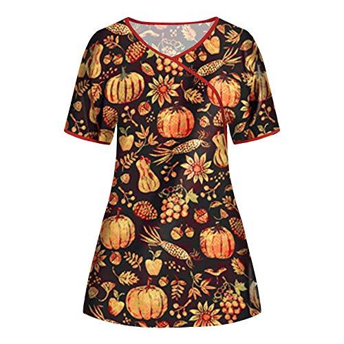 WERVOT Damen Uniform Arbeitsoveralls Unisex Blumendruck Oberteile V-Ausschnitt Kurzarm Arbeitskleidung Pflege Bunt Weihnachten Motiv Berufskleidung Neujahr Taschen Schlupfhemd(A7 Orange,M)