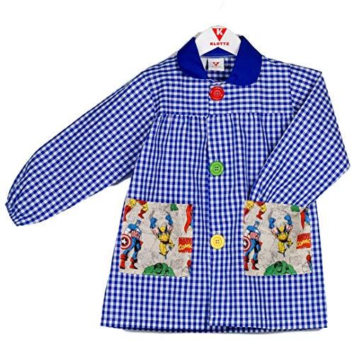 KLOTTZ VENGADORES - Babi colegio bolsillos de tela de Vengadores. Bata escolar y comedores. Niñas color: AZUL talla: 4