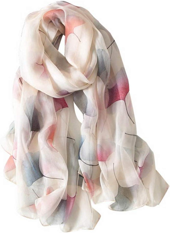 CEFULTY Ginkgo Leaf Printed Soft Silk Autumn Scarf MultiFunctional Women Vacation Sunscreen Shawl (color   Beige)