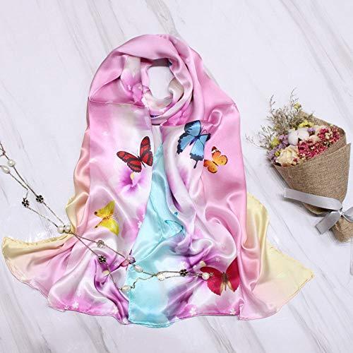 Xingling 100% Seide bedruckter Schal der Frauen/Schal/Strand Sonnencreme, antiallergische Art und Weisequalitätsschal 175 * 55cm,BLCE-05