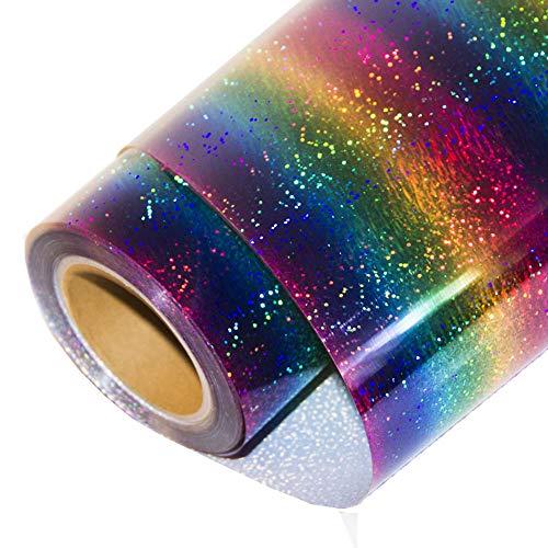 "HOHOFILM Holographic Stripe Multi Heat Transfer Vinyl Iron-on HTV Press Paper Sheet for Garment T-Shirt 20""x12"""