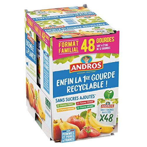 ANDROS - Compote de Fruit - Gourde Recyclable - Sans Sucre Ajouté - Goût Pomme + Pomme/Poire + Pomme/Fraise + Pomme/Banane - Idéal pour le Goûter des Enfants et des Bébés - Lot de 48