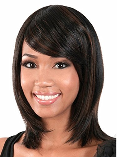 MagicaLove Middle Black Straight Side Bang Natural Heat Resistant Synthetic Human Hair Wigs for Girls' Life …