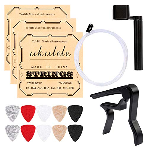 Ukulele Strings, Yoklili 5 Sets of Nylon Ukulele Strings with 10 Felt Picks, String Winder for...