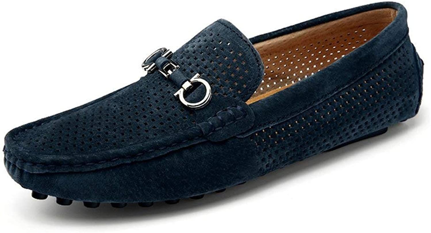 ZHRUI Men Casual shoes Cow Suede Leather Loafers Leather Driving Moccasins Slip on shoes Men Comfortable and Breathable shoes (color   bluee7051, Size   7=41 EU)