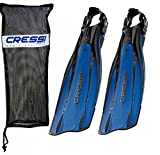 Cressi Pro Light Open Heel Diving Fin, Blue with Bag - M/L - US Men's 12/14