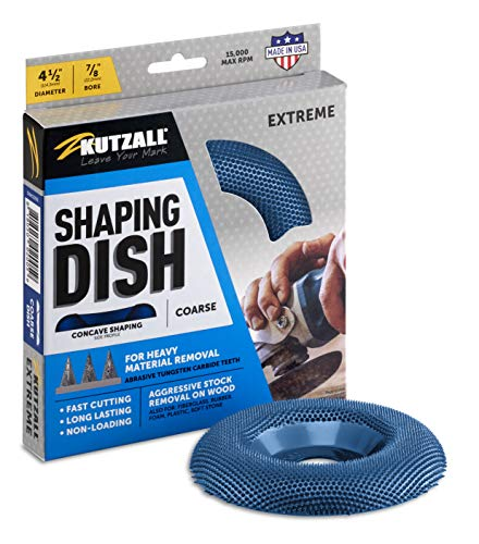 """Kutzall Extreme Shaping Dish - Coarse, 4-1⁄2"""" (114.3mm) Dia. X 7⁄8"""" (22.2mm) Bore - Woodworking Angle Grinder Attachment for DeWalt, Bosch, Milwaukee, Makita. Abrasive Tungsten Carbide, DW412X90"""