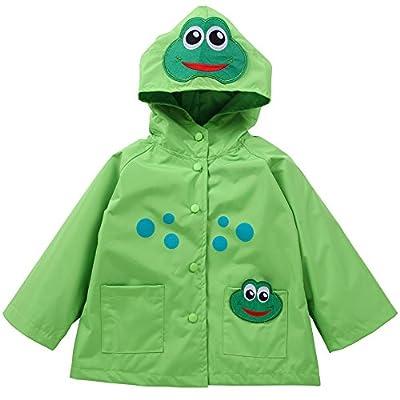 Waterproof Rainwear Windbreaker Hooded Raincoat Dirty Proof Cute Long Sleeve Outwear Jacket for Boys and Girls (Green, 4T(for Age 3-4))