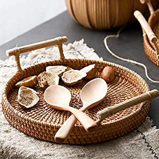 Rattan Round Bread Serving Basket Handcrafted Bread Serving Tray Platter with Wooden Handle (8.7 inch / 22cm)