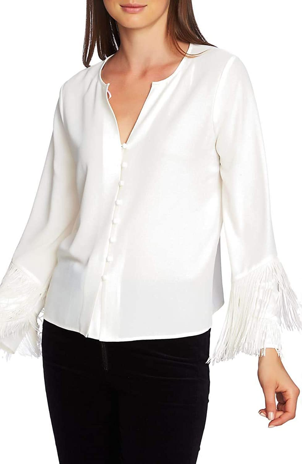 1.STATE Womens Long Sleeve Button Down Fringe Sleeve Blouse