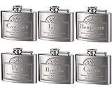Top Shelf Flasks Personalized Custom Engraved 4oz Stainless Steel Flasks for Weddings, True Metal Etching Lasts a Lifetime, 6PK