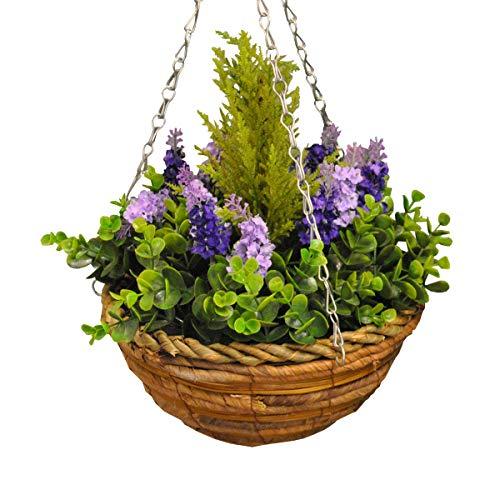 Maceta colgante con arbusto y geranios artificiales, 25cm