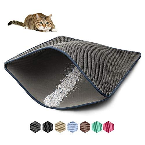 WePet Cat Litter Mat, Kitty Litter Trapping Mat - Large Size, Honeycomb Double Layer Mats, No Phthalate, Urine Waterproof, Easy Clean, Scatter Control, Catcher Litter Box Rug Carpet 30x25 Inch Grey