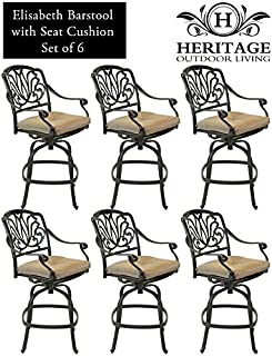 Heritage Outdoor Living Elisabeth Cast Aluminum Barstool - Set of 6 - Antique Bronze
