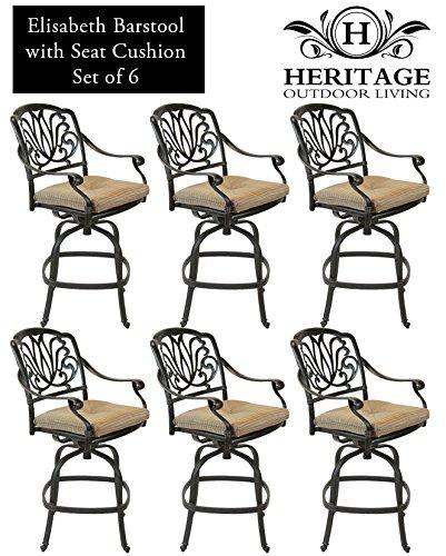 Hot Sale Heritage Outdoor Living Elisabeth Cast Aluminum Barstool - Set of 6 - Antique Bronze