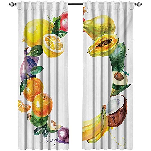 Wild One Curtain Obst,Gardinendekoration,Naturkost Mit Bananen-Zitronen-Avocado-Orangen-Kokosnuss-Frisch-Landwirtschafts-Kunstdruck,Gardinenküchenfenster
