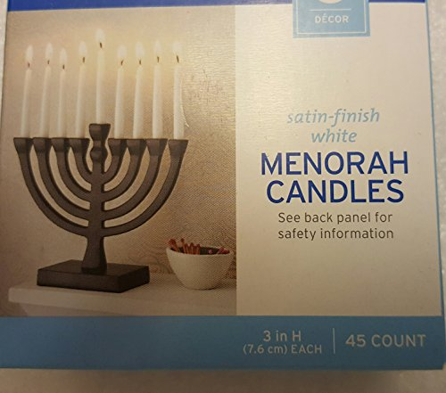 Menorah Candles Satin Finish White 3 Inches 45 Count Hanukkah Home Holiday Decor