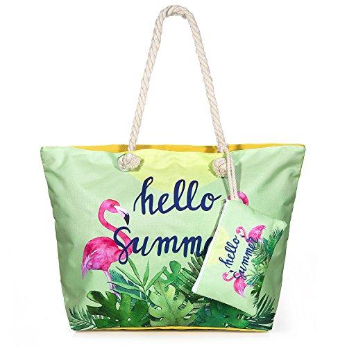ZOEON Bolsa de Playa de Lona Mujer Grande Bolso de Mano Shopper Bolsa con Cremallera (FlamencosA002)