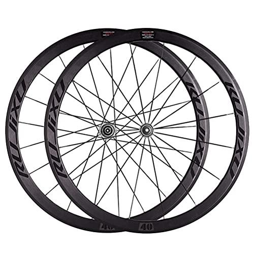 YUDIZWS Ruedas Bicicleta Carretera 700c Aleación Aluminio Doble Pared Juego 40mm Fibra Carbon del Tubo Liberación Rápida 8-11 Velocidades Freno C/V (Color : Grey)