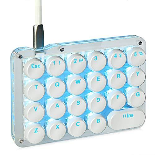 Koolertron片手キーボード メカニカルキーボード フルプログラム可能ゲーミングキーボード スタマイズ可能23キー マクロキー ラウンドキーキャップ付き片手小型キーボード (青軸 ブルー)