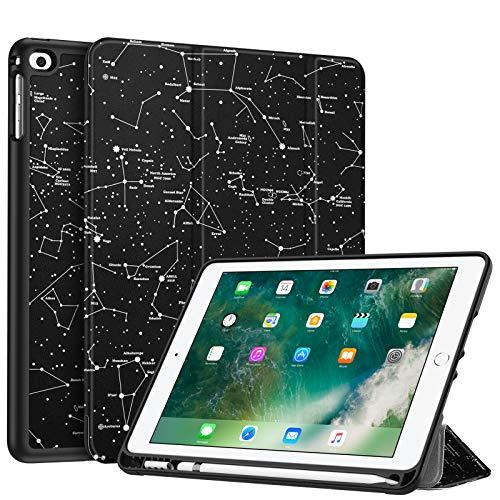 FINTIE Custodia per iPad 9.7 Pollici 2018 2017 con Built-in Apple Pencil Holder - Sottile Leggero Cover con Auto Sonno/Sveglia la Funzione per Apple iPad iPad 9,7'' 2018/2017, Constellation