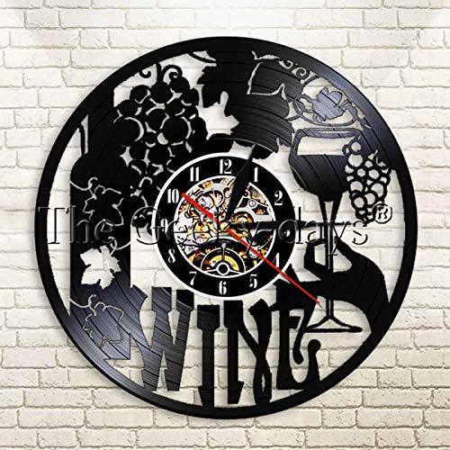 KEC Reloj de Pared de Vino de 1 Pieza, decoración del hogar, Reloj de Pared para Bebidas, Reloj de Pared de Vinilo, Regalo Original único contemporáneo para el Amante del Vino