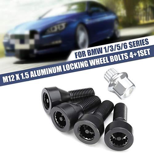 ZSYLOVE ZHANGSUYUAN 1 Set M12 x 1.5 Set de Bloqueo de Ruedas Black Lug Bolts Fit para BMW E32 E34 1 3 5 6 Series Mini # 36136786419# 36131180882# 36136764057