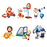 RuiDaXiang Set Juego de muñecas, 6 muñecas y Accesorios Profesiones Diferentes,para Figuras de 3 a 8 años