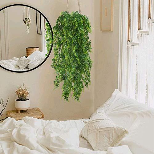 HUAESIN 2pcs Künstliche Hängepflanzen Lang Persischer Farn Kunstpflanze Hängend Plastikpflanzen Künstliche Pflanze Efeu Groß Grünpflanzen für Innen Außen Balkon Wand Topf Garten Deko 115cm - 7