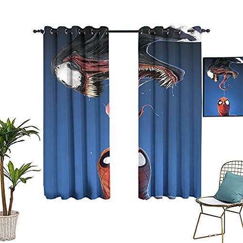 Cortinas opacas con forro de Spider_man Venom Comics Avengers Comic Art Panel de cortina con agujero para barra para dormitorio y cocina 213 x 137 cm
