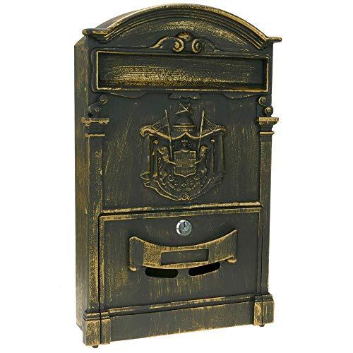 PrimeMatik - Oude metalen brievenbus voor brieven en post in roestkleur