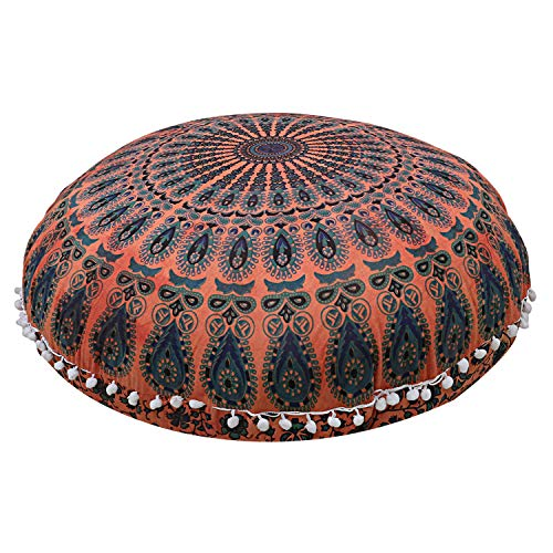 Shubhlaxmifashion Mandala Floor Pillow Cushion Seating Throw Cover Hippie Decorative Bohemian Ottoman Poufs, Pom Pom Pillow Cases,Boho Indian (32 Inches, Orange Dye)