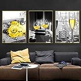 RTAGBFND mural nórdico Pintura en lienzo Carteles murales Impresiones Negro Amarillo Contraste Decoración moderna para el hogar Gafas de flores París Torre Eiffel -40x60cmx3 Sin marco