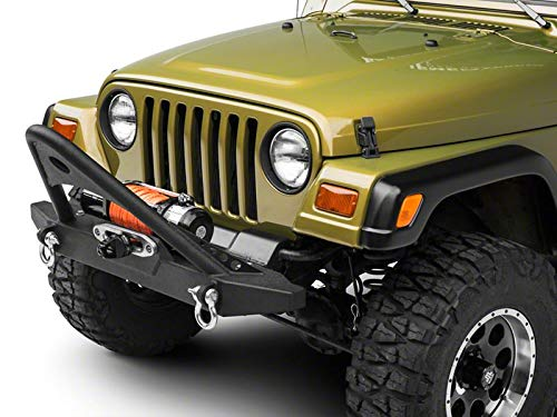 REDROCK 4x4 Stubby Winch Front Bumper with Stinger Bar for Jeep Wrangler 1987-2006