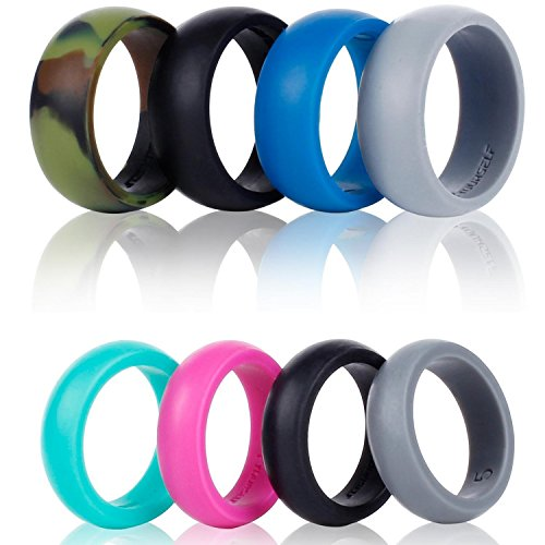 SYOURSELF Silicone Wedding Ring Band-4 Pack-Safe Flexible Comfortable Medical Grade Love Rings Set for Men Women- Fit for Sports & Outdoors, Workout, Fitness, Athletes, Engineers+ Gift Box (Men 12)