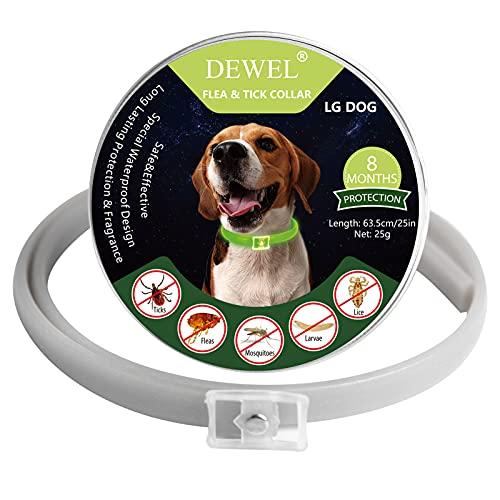 DEWEL Collar Antiparasitos Perro Gato, Collar Antiparasitario Fluorescente contra Pulgas, Garrapatas y Mosquitos para Perros Grandes Medianos Pequeños