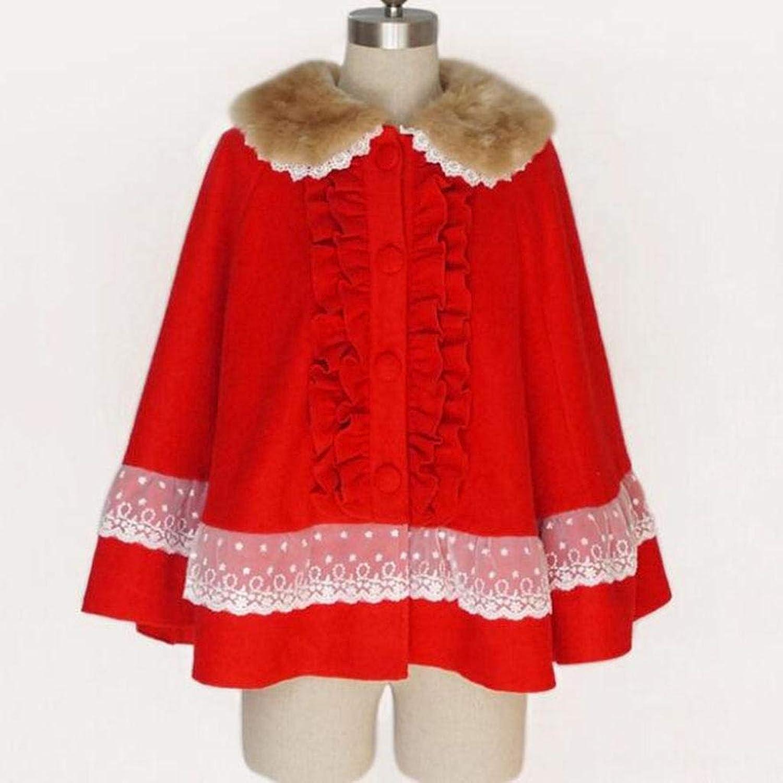BCX der Herbst und Winter Weihnachten rot Cloak Verdickung Schne Pelzkragen Lace Edge in der Langen Abschnitt Wollmantel
