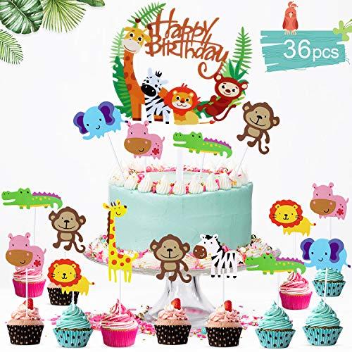 36 Piezas Animales Decoraciones Torta para Decorar la Tarta de Niños Cumpleaños, Feliz Cumpleaños Pastel Topper Tema Selva de Niños Fiesta, Cupcake Toppers Fuentes del Partido